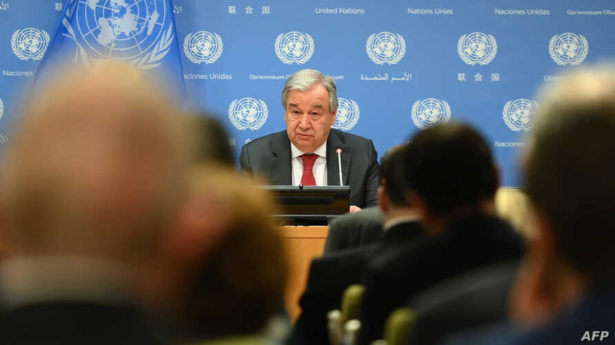 United Nations Secretary General Antonio Guterres speaks during a press briefing at United Nations Headquarters on February 4,…