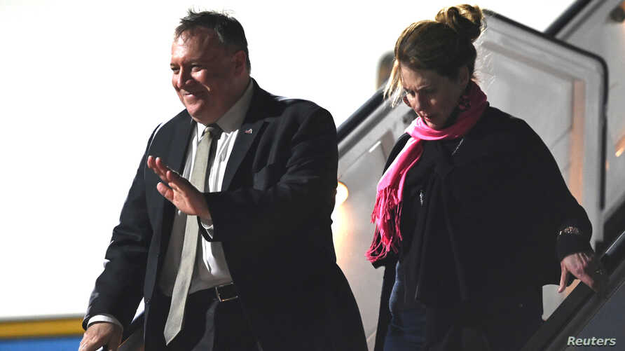 US Secretary of State Mike Pompeo and his wife Susan arrive at Munich International Airport, Germany Feb. 13, 2020.