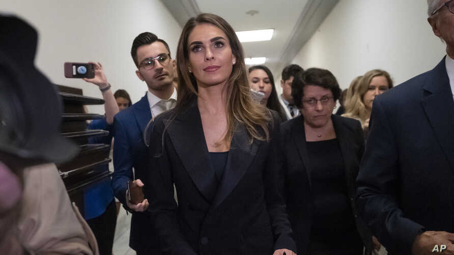 Former White House communications director Hope Hicks departs after a closed-door interview with the House Judiciary Committee.