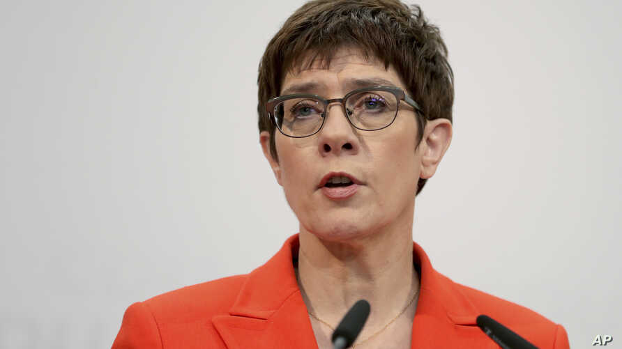 Annegret Kramp-Karrenbauer, chairwoman of the German Christian Democratic Union (CDU), adresses the media during a press conference at the party's headquarters in Berlin, Germany, Feb. 7, 2020.