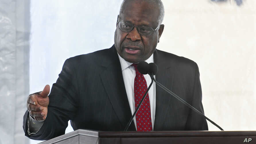 upreme Court Justice Clarence Thomas delivers a keynote speech during a dedication of Georgia new Nathan Deal Judicial Center, Feb. 11, 2020, in Atlanta.