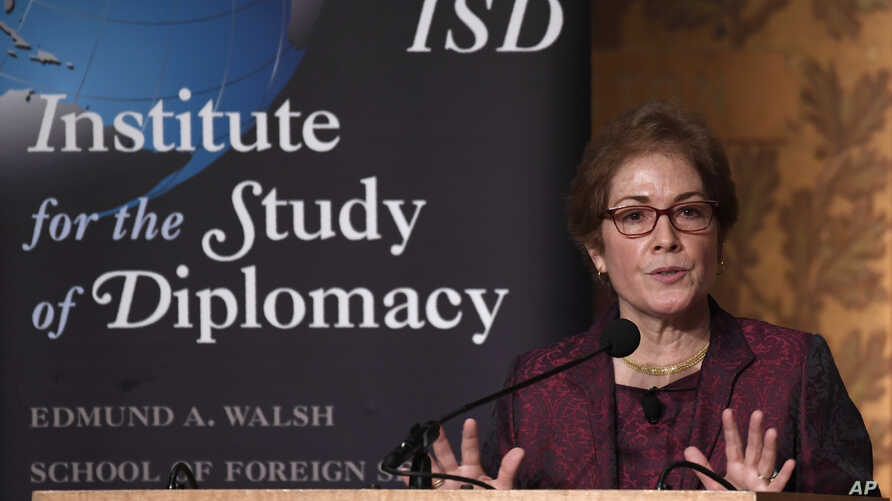 Former Ambassador to Ukraine Marie Yovanovitch speaks at Georgetown University in Washington, Feb. 12, 2020.