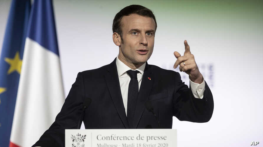 French President Emmanuel Macron, delivers a speech during a press conference a part of his visit in Mulhouse, eastern France,…
