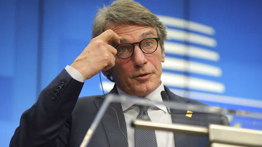 European Parliament President David Sassoli speaks during a media conference at an EU summit in Brussels, Thursday, Feb. 20,…