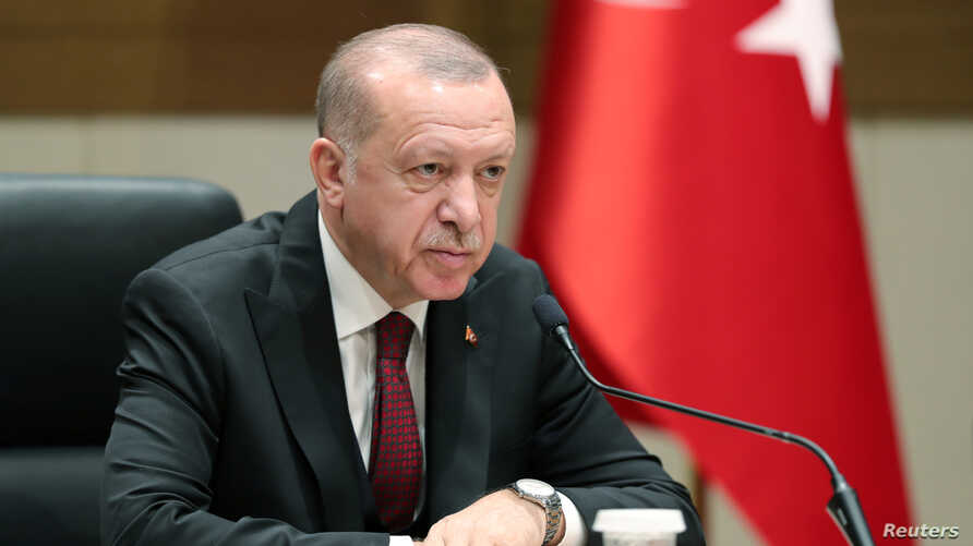 Turkish President Tayyip Erdogan speaks during a news conference in Istanbul, Turkey, February 3, 2020. Turkish Presidential…