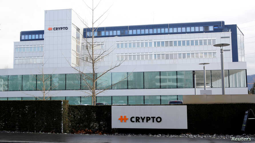 The logo of Crypto AG is seen at its headquarters in Steinhausen, Switzerland, Feb. 11, 2020.