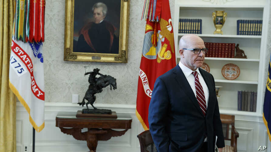 FILE - Then-National Security Adviser H.R. McMaster listens during a meeting in the Oval Office of the White House, in Washington, Feb. 2, 2018.