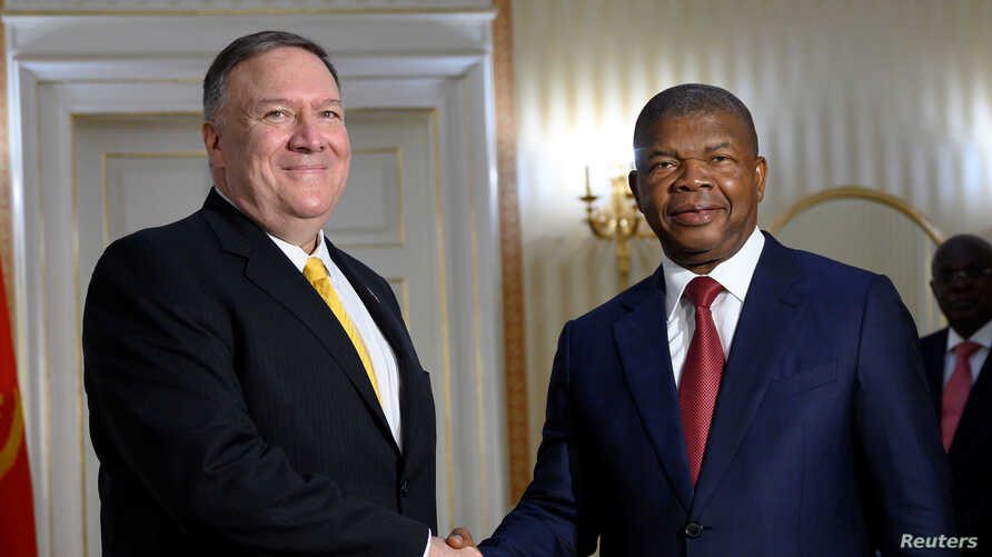 Angolan President Joao Lourenco meets with U.S. Secretary of State Mike Pompeo at the Presidential Palace in Luanda, Feb. 17, 2020.