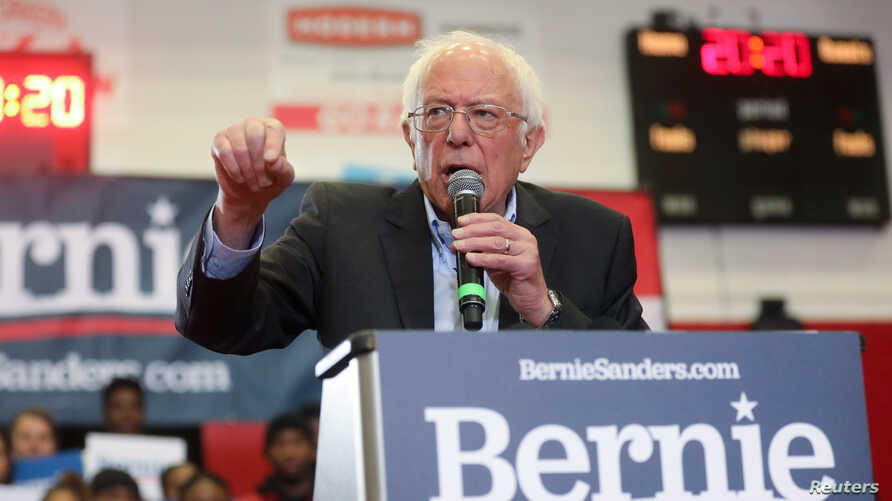 Democratic 2020 U.S. presidential candidate Senator Bernie Sanders rallies with supporters at Winston-Salem State University in Winston-Salem, North Carolina, Feb. 27, 2020.
