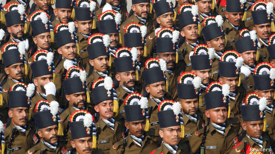 Soldiers march during India's Republic Day parade in New Delhi, Jan. 26, 2020.