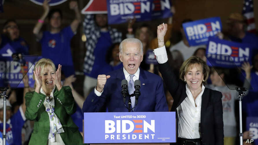 Democratic presidential candidate former Vice President Joe Biden speaks at a primary election night campaign rally