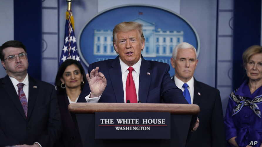 President Donald Trump speaks during press briefing with the Coronavirus Task Force, at the White House, March 18, 2020.