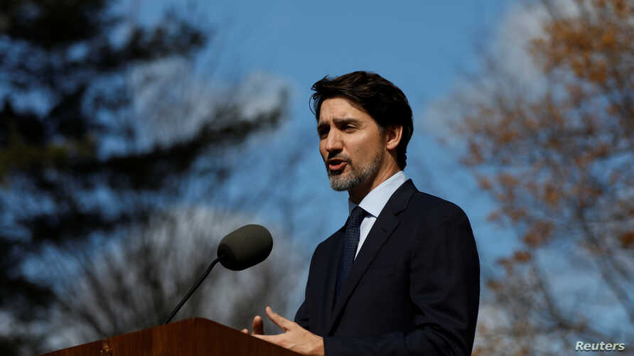 Canada's Prime Minister Justin Trudeau gives a speech at a news conference at Rideau Cottage in Ottawa, Ontario, Canada March…