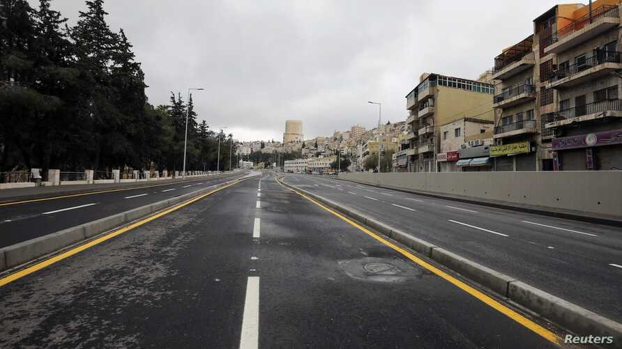 The streets of the Jordanian capital are seen empty after the start of a nationwide curfew, amid concerns over the coronavirus spread, in Amman, Jordan March 21, 2020.