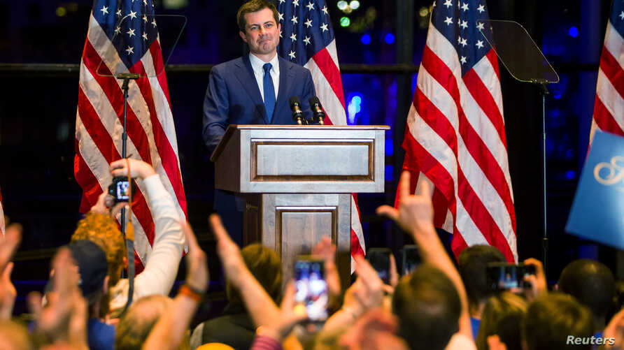 Democratic presidential candidate Pete Buttigieg announces his withdrawal from the race during an event in South Bend, Indiana, March 1, 2020. (Credit: Santiago Flores/South Bend Tribune via USA TODAY NETWORK)