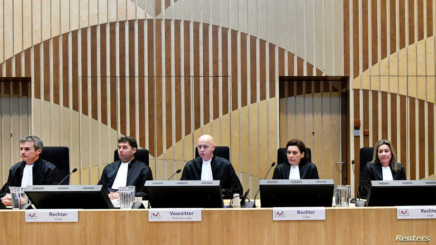 Judges attend the criminal trial against four suspects in the July 2014 downing of Malaysia Airlines flight MH17, in Badhoevedorp, Netherlands, March 10, 2020.
