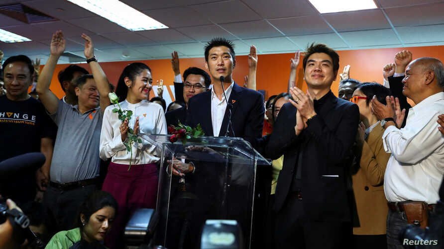 Thailand's opposition Future Forward Party leader Thanathorn Juangroongruangkit speaks to his party supporters during a news conference at the party's headquarters in Bangkok, Jan. 21, 2020.