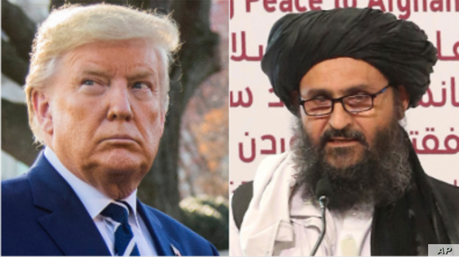 From left, U.S. President Donald Trump and Taliban Deputy Chief Mullah Abdul Ghani Baradar.