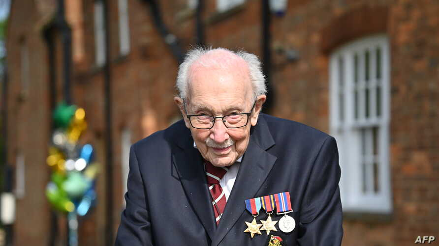 British World War II veteran Captain Tom Moore, 99, poses doing a lap of his garden in the village of Marston Moretaine, 50…