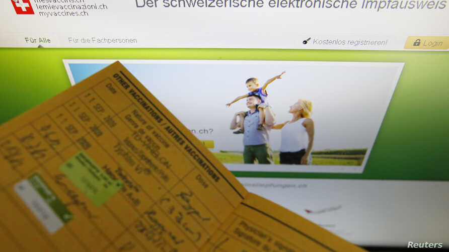 An illustration picture shows the main page of the Swiss electronic vaccination record website (meineimpfungen.ch) in Bern…