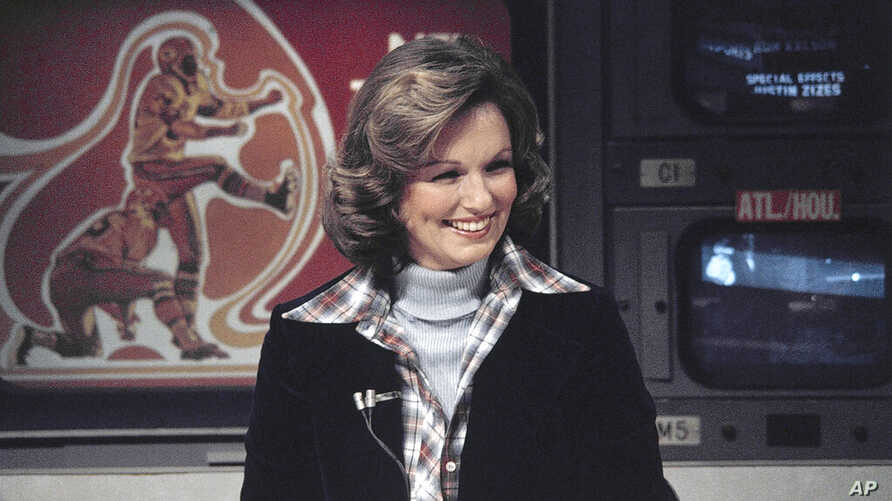 FILE - In this Nov. 28, 1976 file photo, CBS sportscaster Phyllis George is seen in New York. Phyllis George, the former Miss…