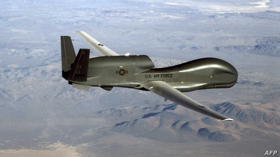FILE - An undated U.S. Air Force photo released June 20, 2019, shows a RQ-4 Global Hawk unmanned surveillance and reconnaissance aircraft.