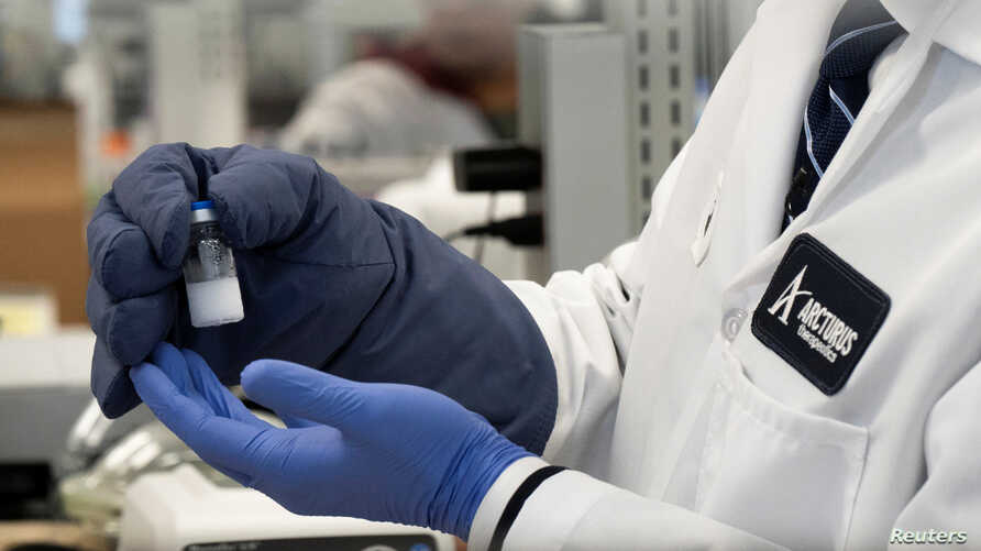 A frozen sample of an RNA vaccine for the novel coronavirus (COVID-19) is displayed by Arcturus Therapeutics CEO Joe Payne at one of the company's laboratories in San Diego, California, March 17, 2020.