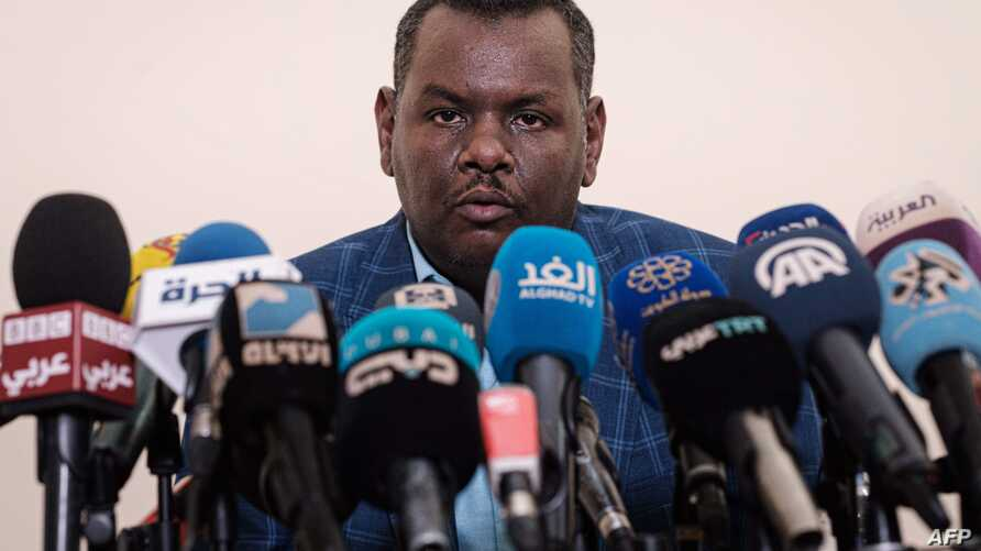Sudanese protest leader Madani Abbas Madani delivers a speech during a press conference in Khartoum, Sudan, June 12, 2019.