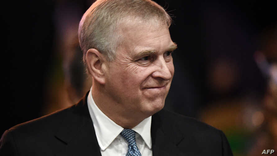 (FILES) In this file photo taken on November 03, 2019, Britain's Prince Andrew, Duke of York leaves after speaking at the ASEAN…
