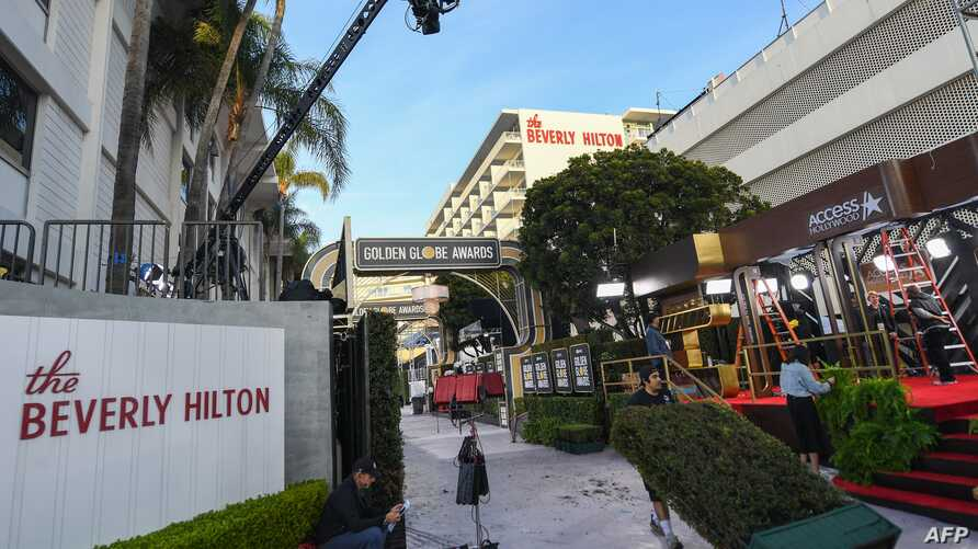 General view of the red carpet set up at the Golden Globes 2020 at The Beverly Hilton, in Beverly Hills, California, on January…