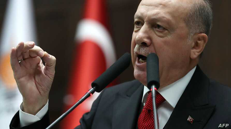 President of Turkey and leader of Justice and Development (AK) Party Recep Tayyip Erdogan speaks at the party's group meeting…