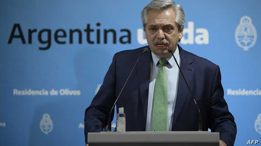 Argentina's President Alberto Fernandez talks during a press conference announcing measures during the outbreak of the new…