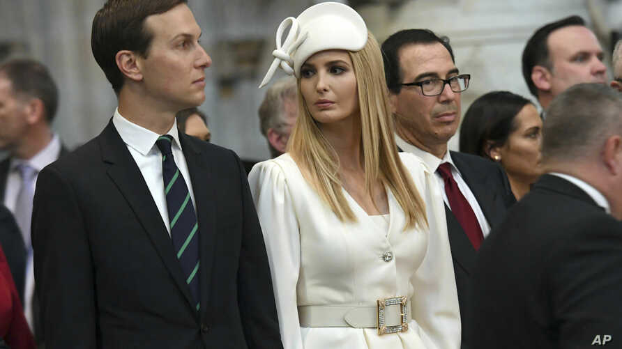 Ivanka Trump and Jared Kushner look on as U.S. President Donald Trump places a wreath on the Grave of the Unknown Warrior during a tour of Westminster Abbey in central London,, June 3, 2019.