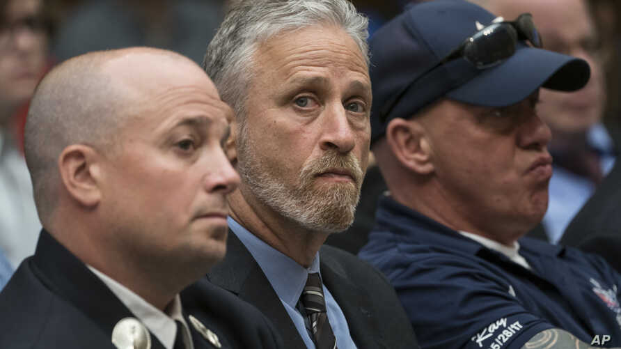 Entertainer and activist Jon Stewart lends his support to firefighters, first responders and survivors of the September 11 terror attacks at a hearing by the House Judiciary Committee as it considers permanent authorization of the Victim