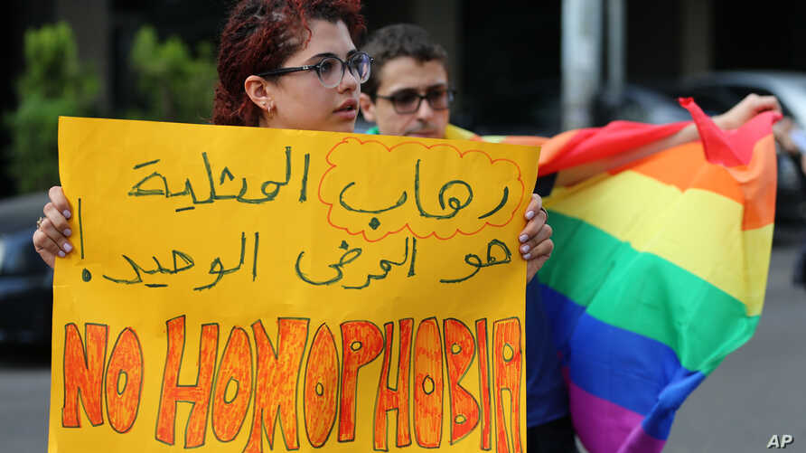 Supporters of the LGBT (Lesbian, Gay, Bisexual, and Transgender) community attend a sit-in to protest the ongoing criminalization of homosexuality and arbitrary arrests, in front of Hobeich Police Station, where protesters say four men are being…