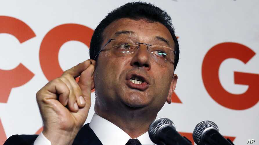 Ekrem Imamoglu candidate of the secular opposition Republican People's Party makes statements at CHP offices in Istanbul, Sunday, June 23, 2019. A former Turkish prime minister backed by Turkey's ruling party has conceded defeat and congratulated…