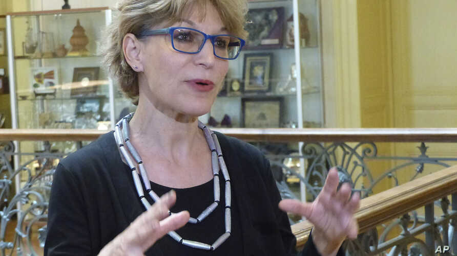 Agnes Callamard, the U.N. special rapporteur for extrajudicial, summary and arbitrary executions, speaks to reporters at the U.N. human rights office in Geneva on Wednesday, June 19, after releasing her report into the killing of Saudi journalist…