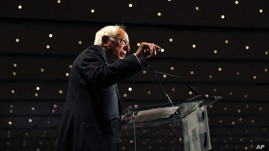 Democratic presidential candidate Bernie Sanders speaks during the Iowa Democratic Party's Hall of Fame Celebration, June 9, 2019, in Cedar Rapids, Iowa.