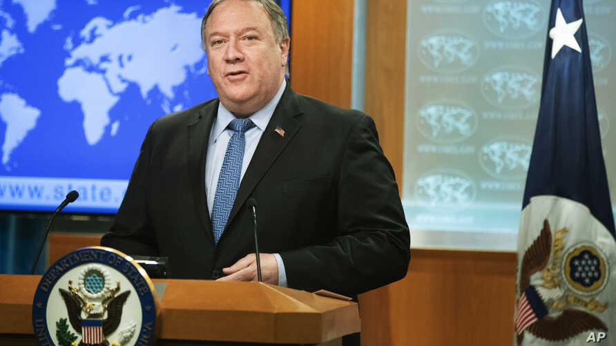 Secretary of State Mike Pompeo speaks about the 2018 International Religious Freedom Annual Report at the Department of State in Washington, June 21, 2019.