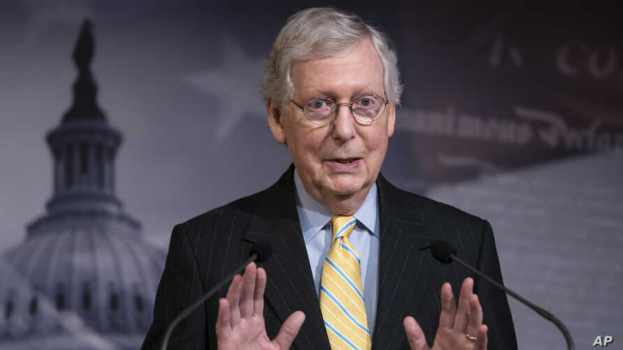 """Senate Majority Leader Mitch McConnell, R-Ky., holds a news conference ahead of the Fourth of July break, at the Capitol in Washington, Thursday, June 27, 2019. House Speaker Nancy Pelosi says the House will """"reluctantly"""" pass the Senate version of…"""