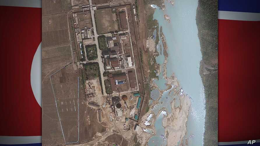 Satellite image provided by GeoEye shows the area around the Yongbyon nuclear facility in Yongbyon, North Korea, on texture, partial graphic