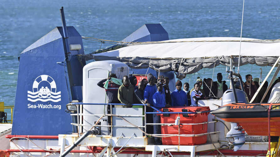 On Jan. 31, 2019,  the migrant rescue ship Sea-Watch 3, carrying 47 migrants, comes into dock at the Sicilian port of Catania, southern Italy.