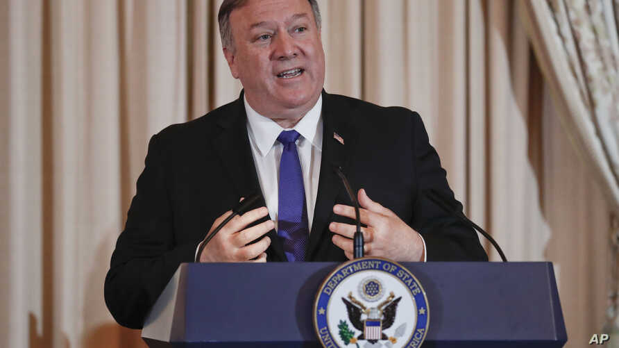 Secretary of State Mike Pompeo speaks during the announcement of the World Food Prize Laureate at the State Department, Monday, June 10, 2019. Simon N. Groot of the Netherlands, founder of East-West Seed, will receive the 2019 World Food Prize.