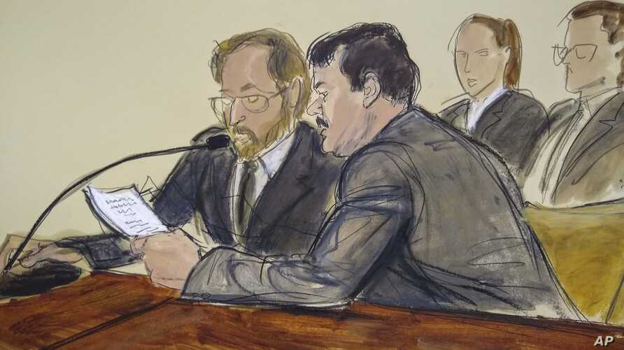 """In this courtroom sketch, Joaquin """"El Chapo"""" Guzman, foreground right, reads a statement through an interpreter during his sentencing in federal court,  July 17, 2019, in New York."""