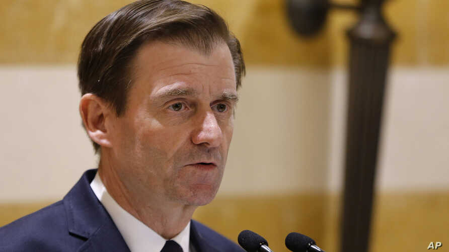 FILE - In this Jan. 14, 2019 file photo, U.S. Undersecretary of State for Political Affairs David Hale delivers a statement after meeting with Lebanese Prime Minister-designate Saad Hariri, in Beirut.