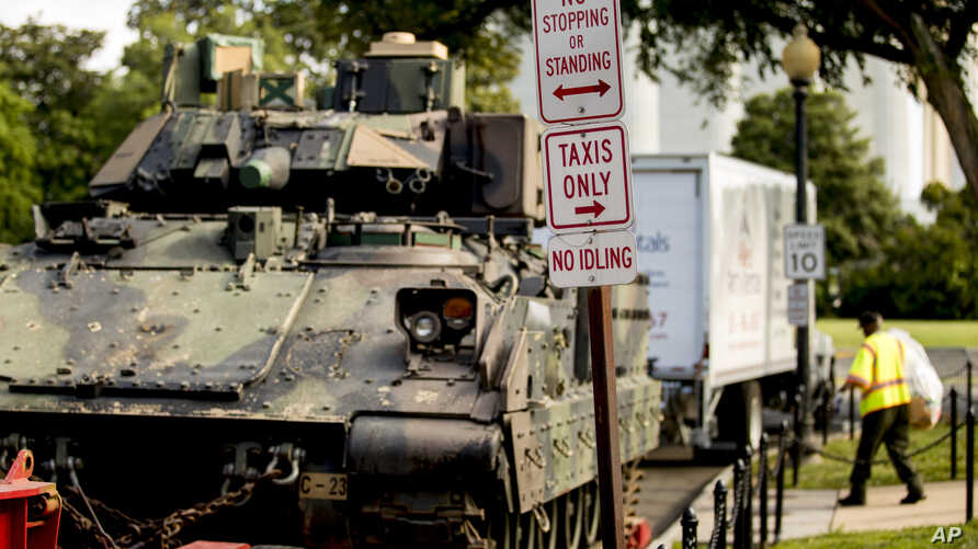 One of two Bradley Fighting Vehicles is parked near the Lincoln Memorial for President Donald Trump's 'Salute to America' event honoring service branches on Independence Day, July 3, 2019, in Washington.