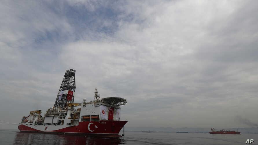 Turkey's 230-meter (750-foot) drillship 'Yavuz' crosses the Marmara Sea on its way to the Mediterranean, from the port of Dilovasi,  June 20, 2019.