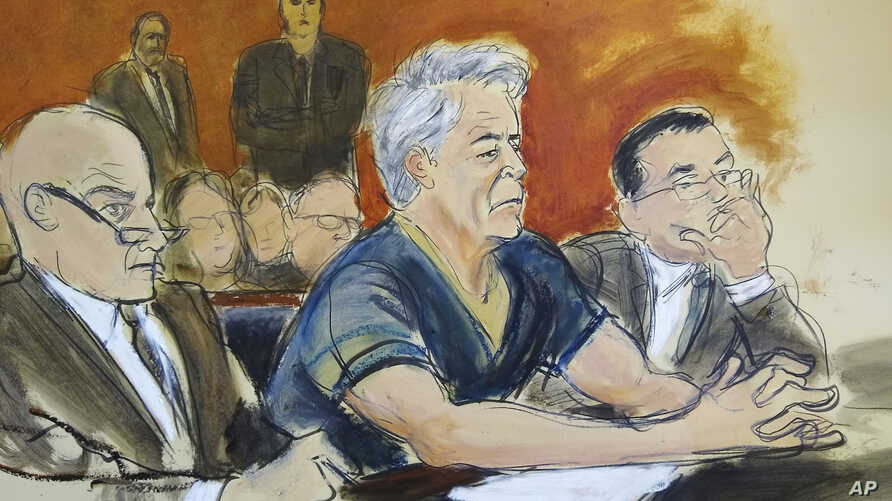 In this courtroom artist's sketch, defendant Jeffrey Epstein, center, sits with attorneys Martin Weinberg, left, and Marc Fernich during his arraignment in New York federal court, Monday, July 8, 2019. Epstein pleaded not guilty to federal sex…