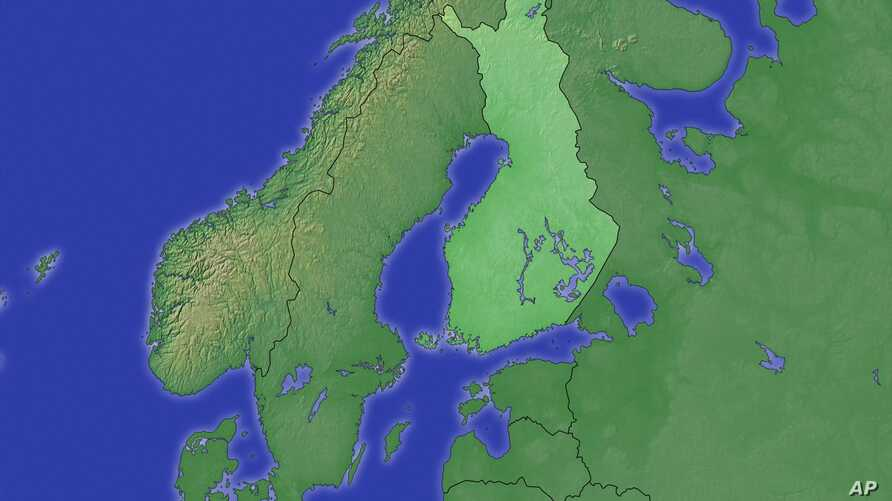 Scandinavia topographic map with Finland highlighted, partial graphic