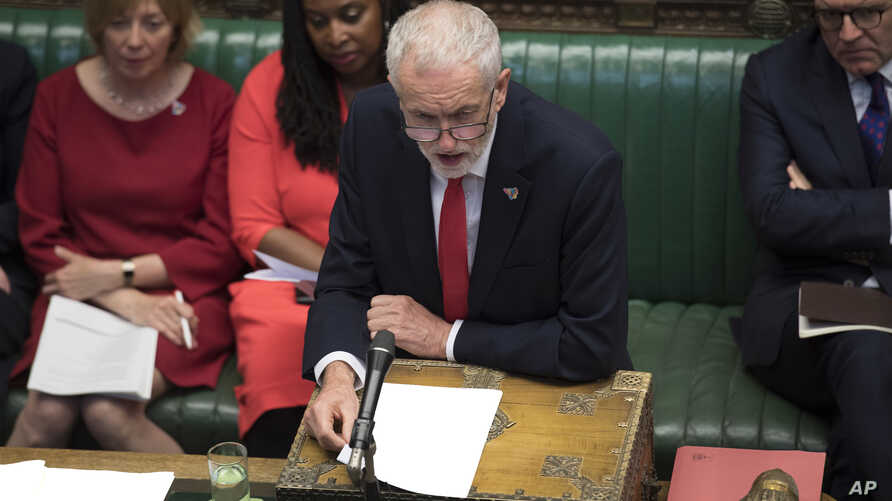 Opposition Labour Party leader Jeremy Corbyn, speaks during the regular Question Time where lawmakers are able to ask questions to the prime minister inside the House of Commons in London, June 19, 2019.